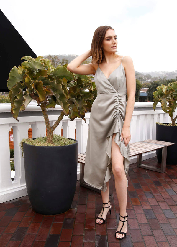 satin dress, ruched dress, cocktail dress, silver dress, silver satin dress, formal wear, formal attire, formal dress, flattering dress, elegant dress, chic dress, date night dress, spring 2019 trends, summer 2019 trends