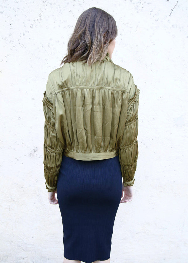 Satin Pleated Jacket - Olive - AMĒNAH