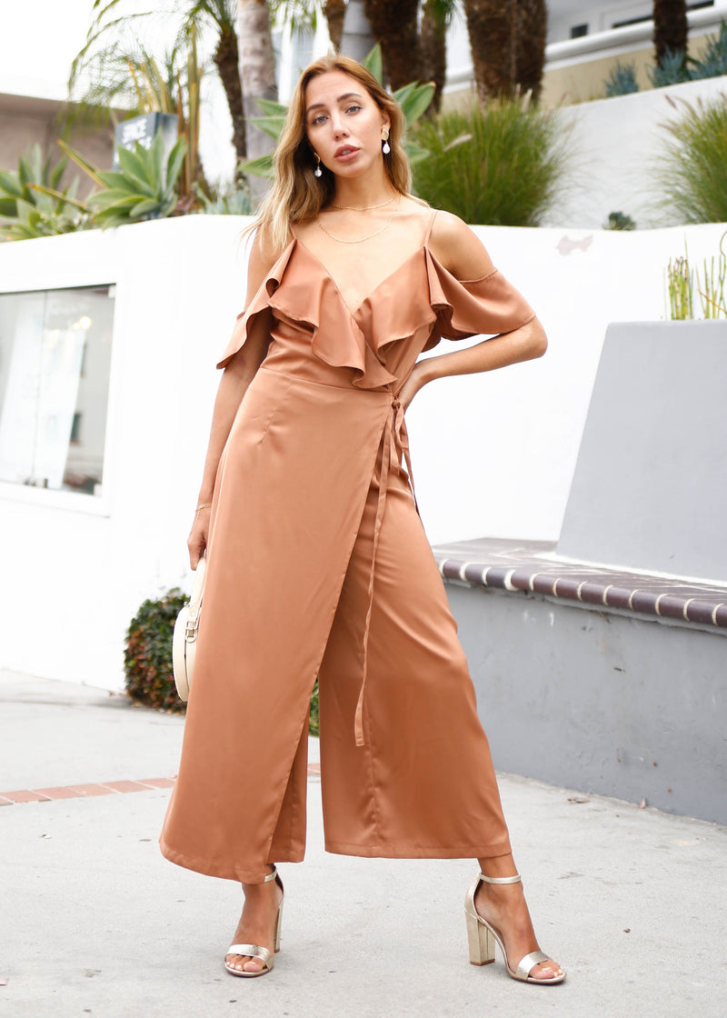 Satin Off Shoulder Jumpsuit - AMĒNAH