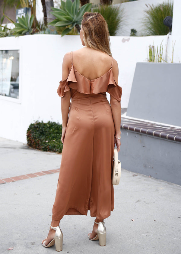 Satin Off Shoulder Jumpsuit