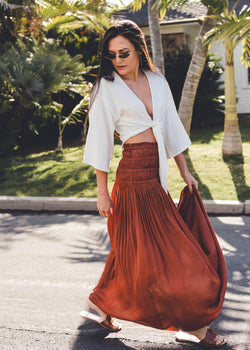 Gathered Waist Satin Maxi Skirt - AMĒNAH