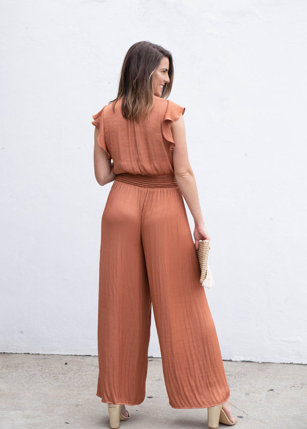 wide leg jumpsuit, terracotta tone outfit, terra cotta tone outfit, summer trends 2019, summer outfit ideas, summer 2019 trends, spring trends 2019, spring outfit ideas, spring 2019 trends, satin jumpsuit, outfit ideas for summer, outfit ideas for spring, New arrivals, jumpsuits for work, jumpsuits for events, formal jumpsuit, evening chic jumpsuit