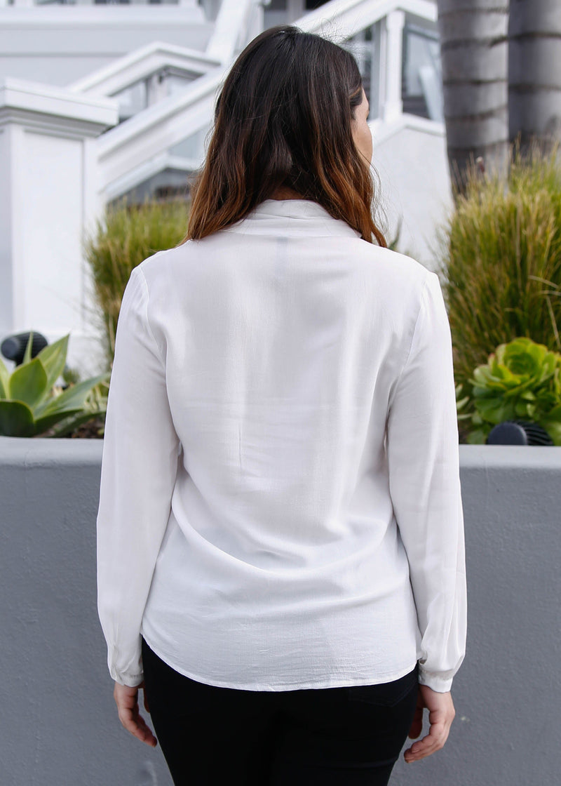 Tie Neck Long Sleeve Blouse - White - AMĒNAH