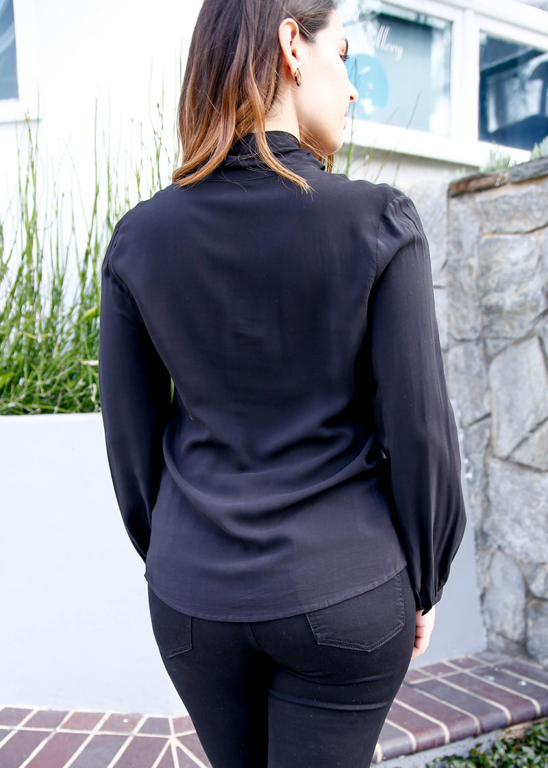 Tie Neck Long Sleeve Blouse - Black - AMĒNAH