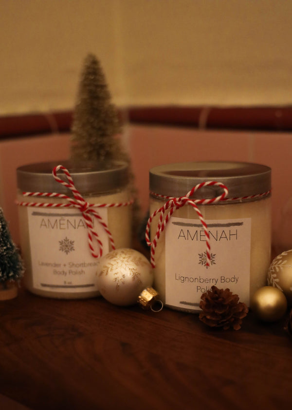 Lingonberry + Lavender Shortbread Holiday Scrub Duo - AMĒNAH