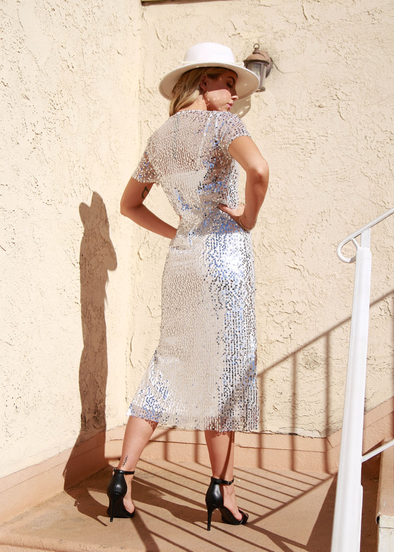 Sequin Short Sleeve Midi Dress - AMĒNAH