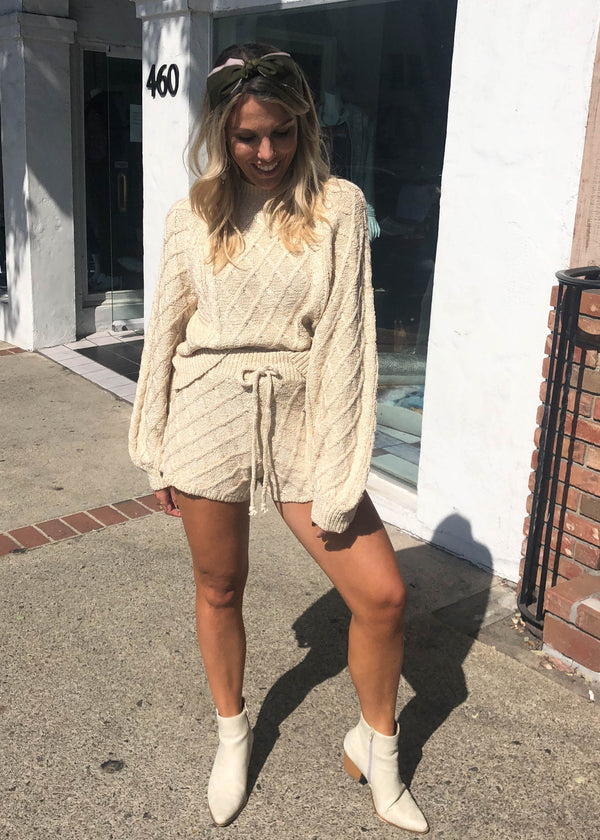 Multi Cable Knit Sweater Short