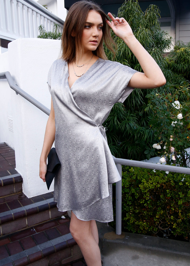 Satin Metallic Wrap Dress - AMĒNAH