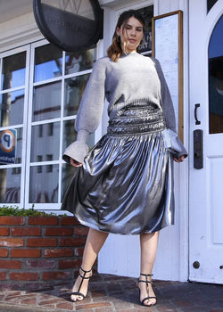 Metallic Smocked Waist Midi Skirt - AMĒNAH