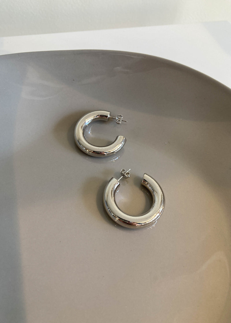 White Gold Dipped Chubby Hoops