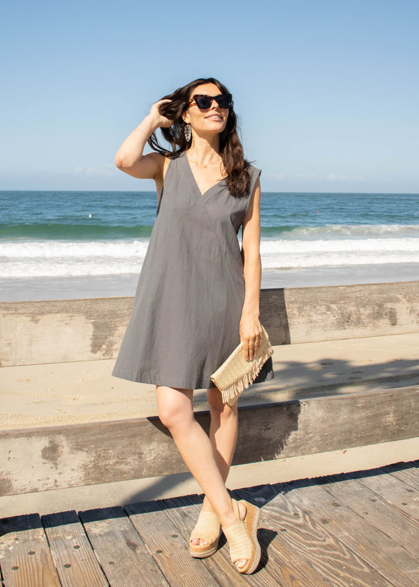 woven swing dress, v-neck swing mini dress, summer outfit ideas, summer 2019 trends, spring outfit ideas, spring 2019 trends, march new arrivals, dresses with pockets, dresses for summer, dresses for spring, cotton v-neck dress, cotton swing dress, cotton dress with pockets, cotton beach dress