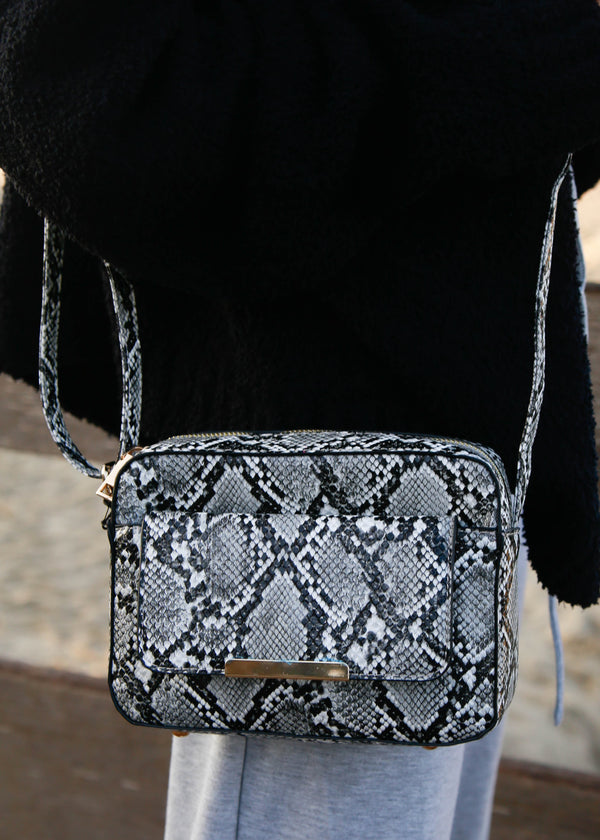 Snakeskin Structured Crossbody - AMĒNAH