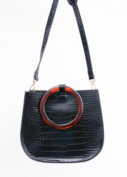 Circle Resin Handled Mini Crossbody - Black - AMĒNAH