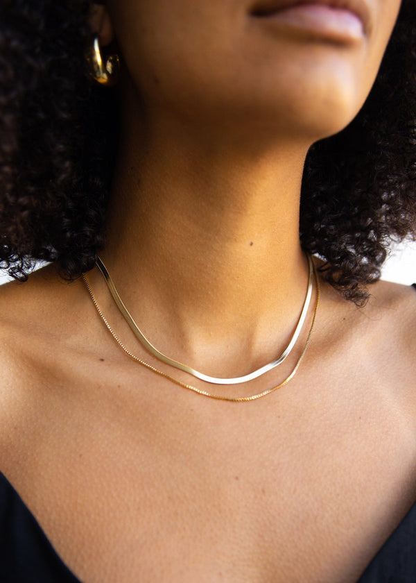 Herringbone + Box Chain Layered Necklace