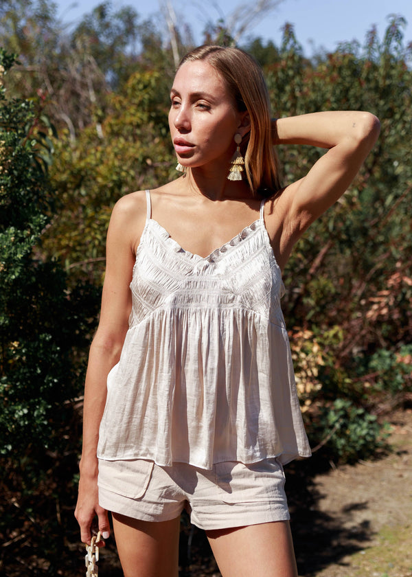 Spruce Gathered Camisole - Cream
