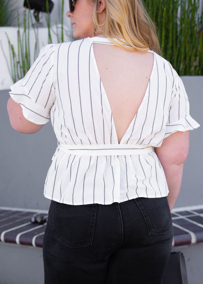 Striped Short Sleeve Wrap Blouse - AMĒNAH