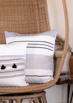 Hand Loomed Striped Tassel Pillow - AMĒNAH