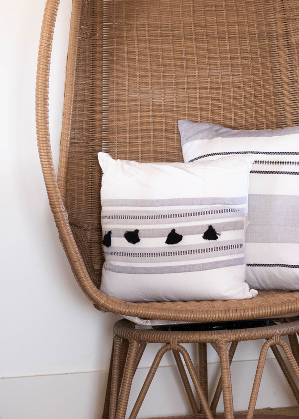 Hand Loomed Striped Pillow - AMĒNAH