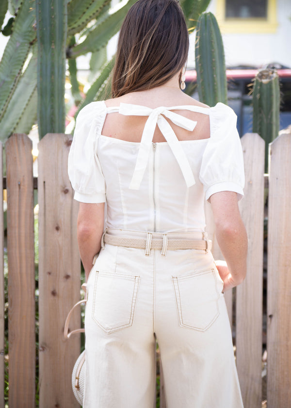 white tops for summer, white tops for spring, white bodice top, unique white top, unique tops, unique blouses, summer 2019 trends, structured woven blouse, Structured Puff Sleeve Top, statement sleeve blouse, spring 2019 trends, march new arrivals, edgy bodice top, cute white tops, bodice top
