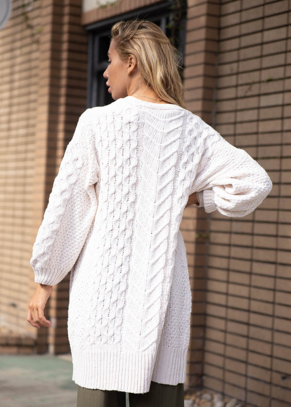 Long Cable Knit Open Cardigan - Cream - AMĒNAH