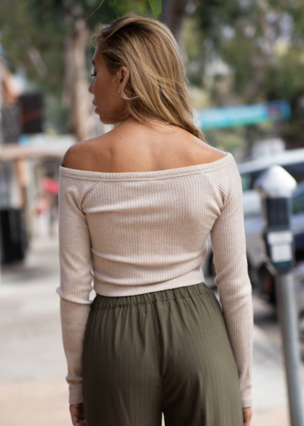 Long Sleeve Button Down Rib Top - Sand - AMĒNAH