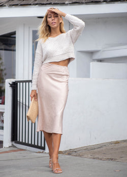 Satin Printed Midi Skirt