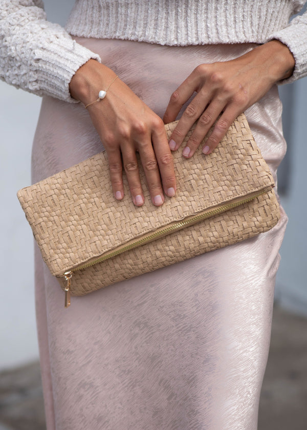 Basket Weave Foldover Clutch - Natural - AMĒNAH