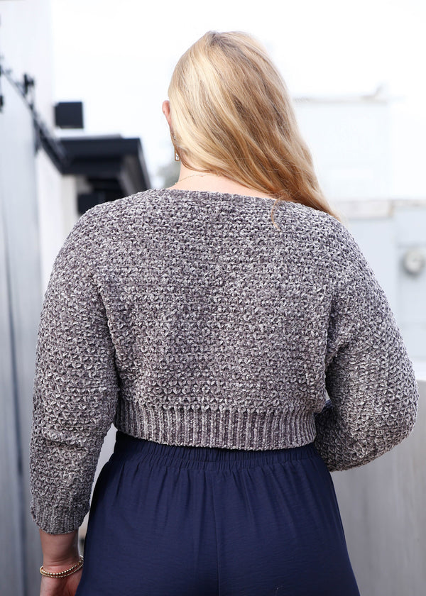 Chenille V Neck Cropped Sweater - Grey