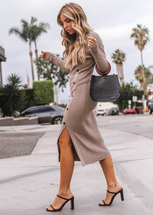 Long Sleeve Sweater Button Bodycon Dress