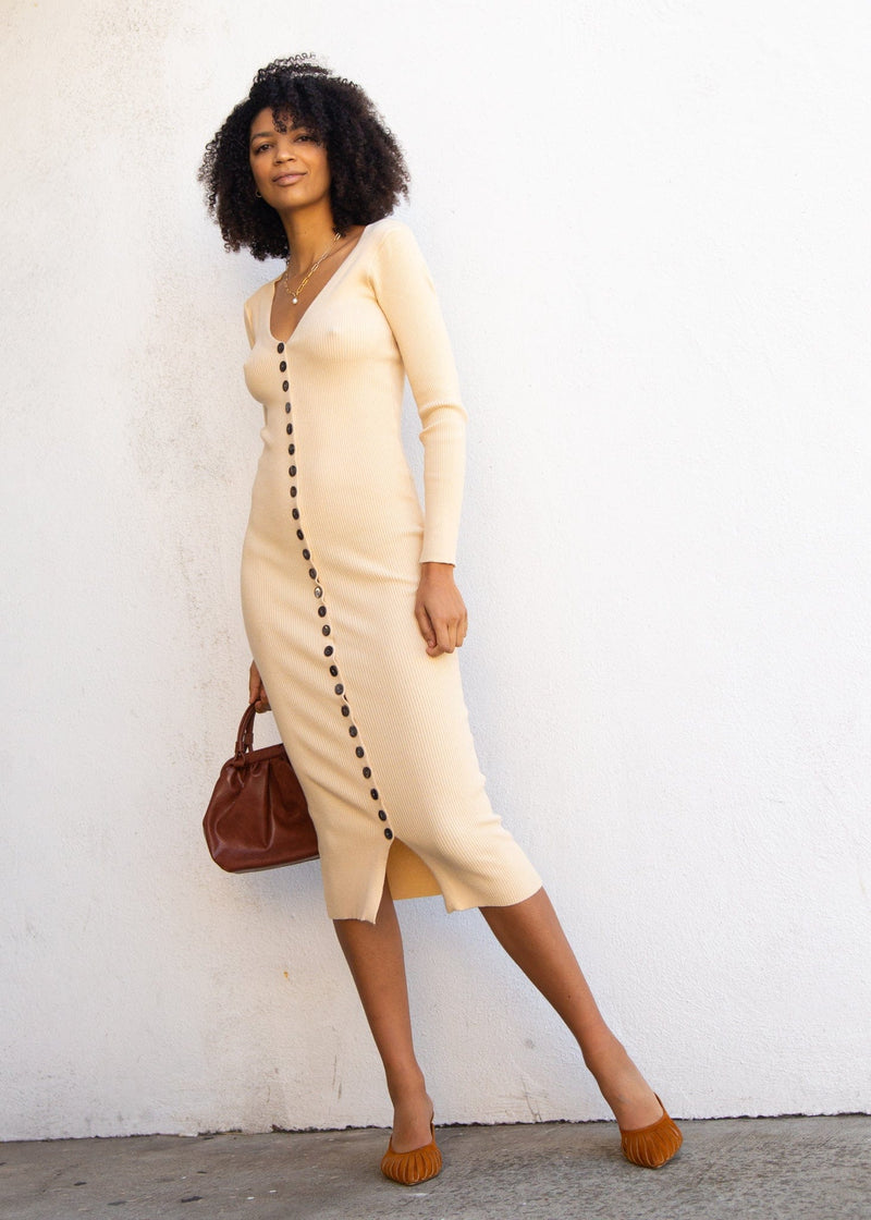 Coto Ribbed Button Down Midi Dress