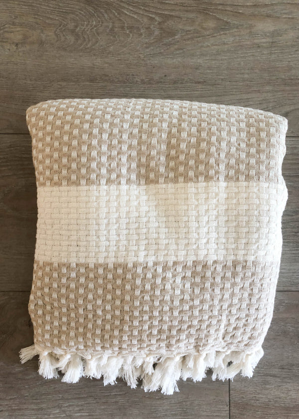 Turkish Towel - Large Taupe Checkerboard - AMĒNAH