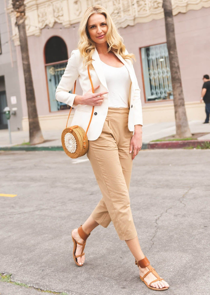 Cotton Side Button Trousers - Beige - AMĒNAH