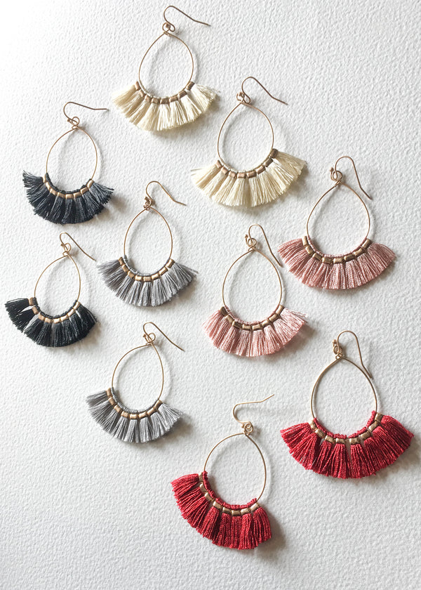 Tassel Statement Earrings, Tassel Hoops, Boho Chic Tassel Earrings, Tassel Earrings, Jewelry Trends, Cute Earrings, Colorful Earrings, Lightweight Hoops, Minimal Earrings, Earring Trends, Accessory Trends