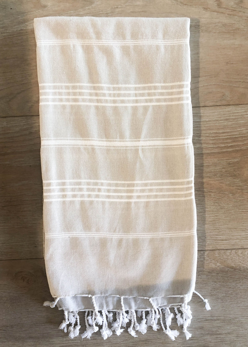 Turkish Towel - Light Taupe Striped - AMĒNAH