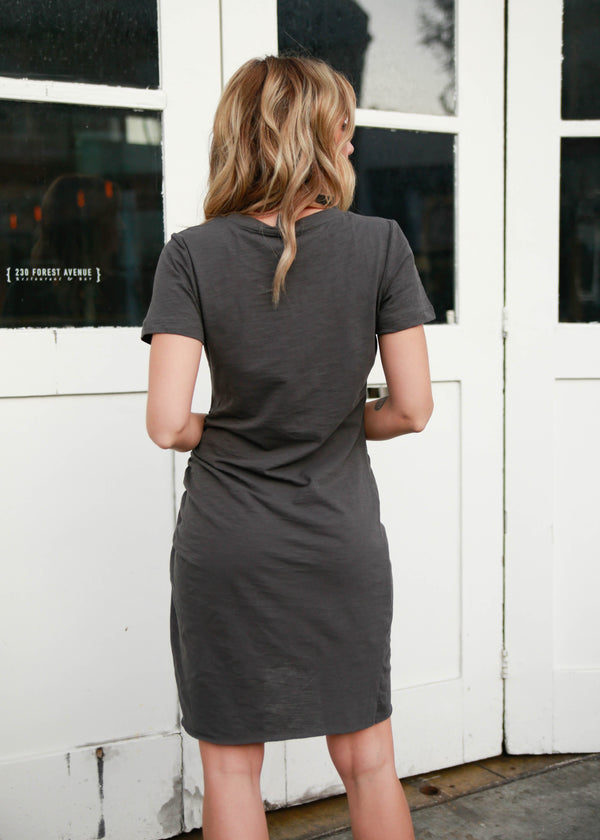 Side Ruched T-Shirt Dress - Charcoal