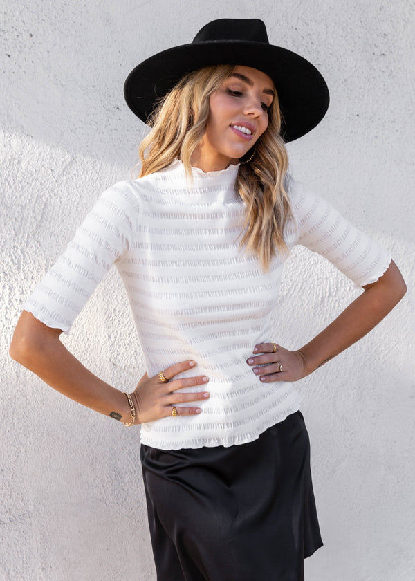 Ribbed Ruffle Hem Knit Top - Ivory - AMĒNAH
