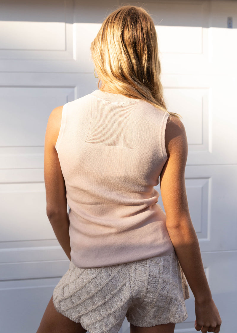 Knit Sleeveless Classic Tank - Blush - AMĒNAH