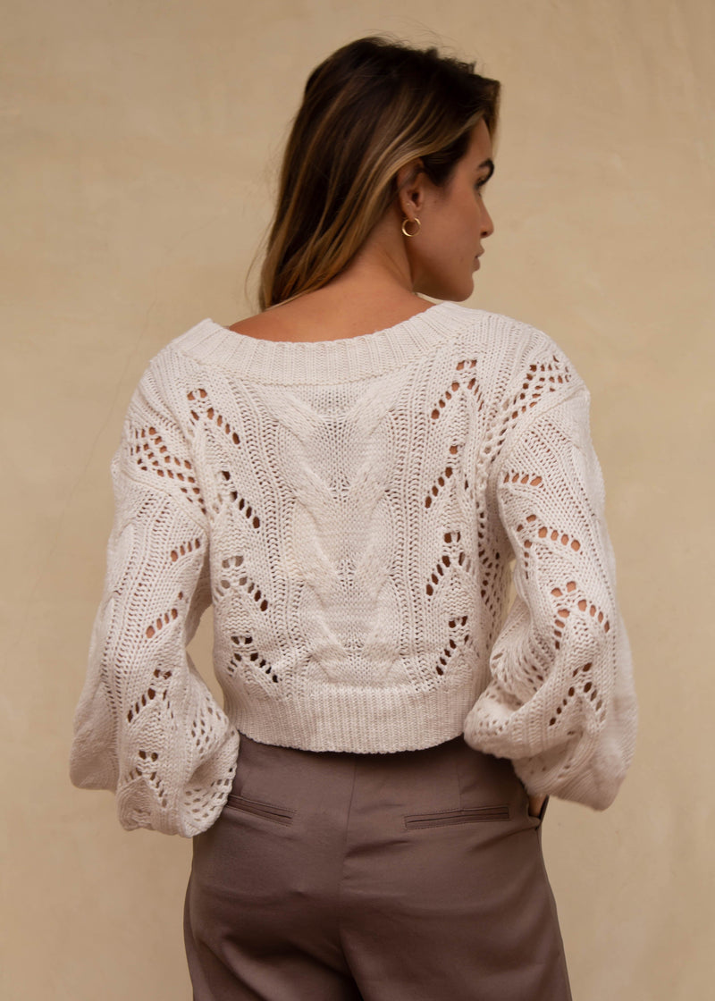 Thalia Cropped Sweater - Ivory