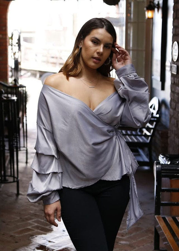 Statement Sleeve Wrap Blouse- Silver