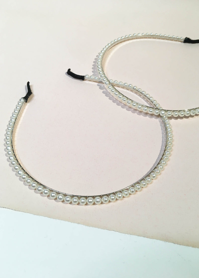 Dainty Pearl Beaded Headband - AMĒNAH