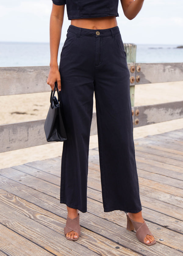 High Rise Twill Flare Pant
