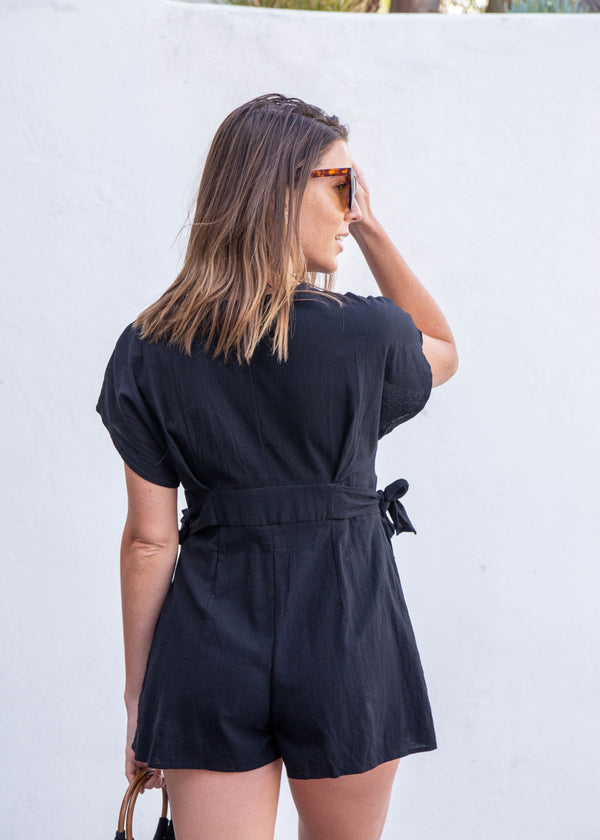 Button Up Short Sleeve Romper- Black - AMĒNAH