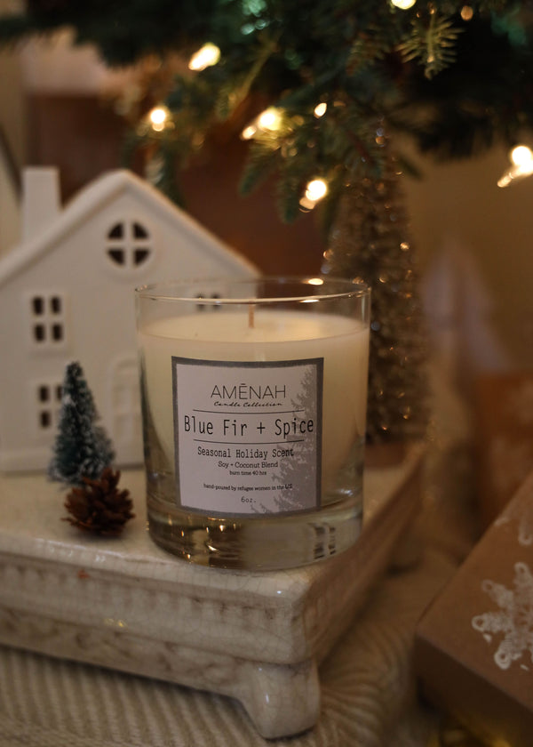 Blue Fir + Spice Candle - AMĒNAH