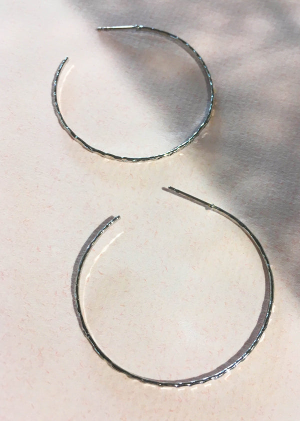 White Gold Dipped Hammered Hoops - AMĒNAH
