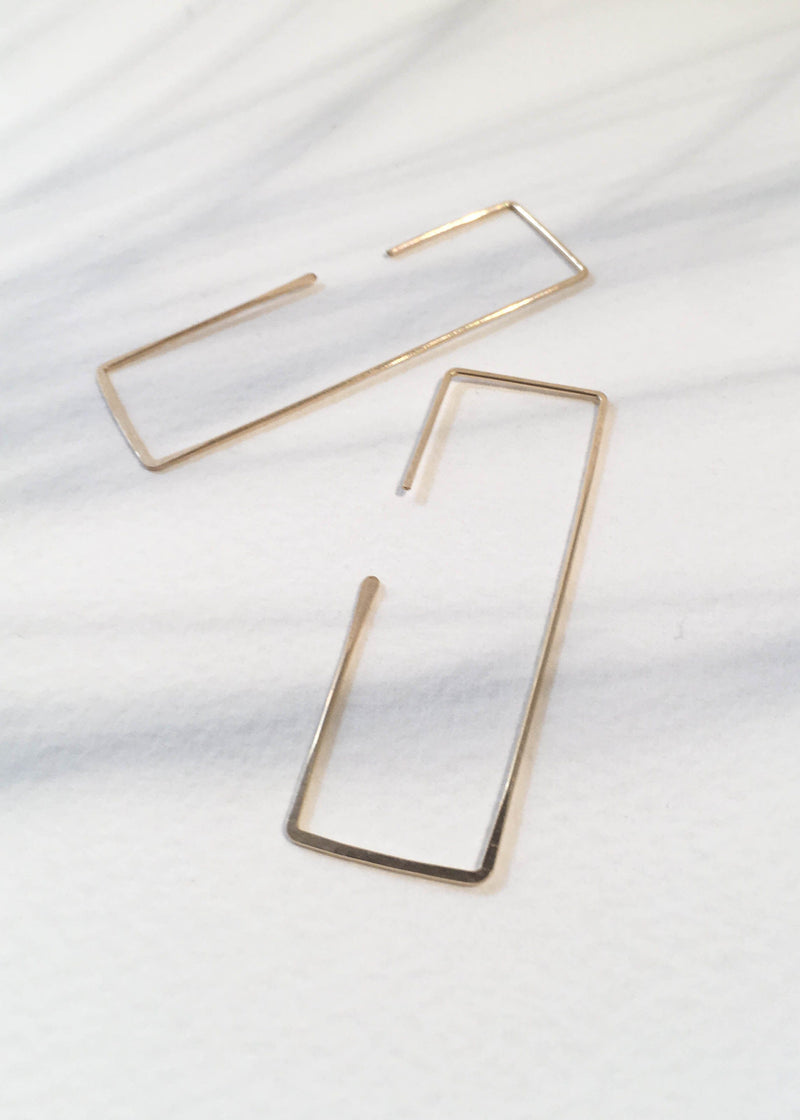 Rectangle 14K GF Earrings - AMĒNAH