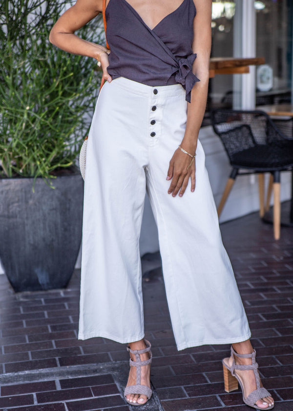 High Rise White Denim Culotte