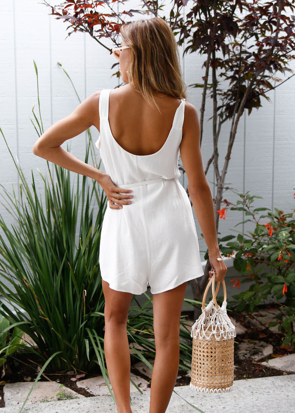 Button Down Linen Romper - AMĒNAH
