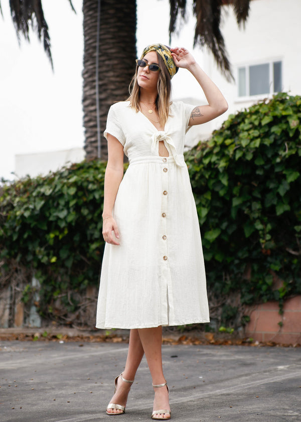 Textured Gauze Button Up Midi Dress
