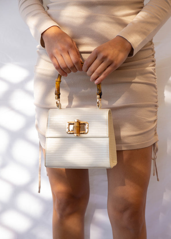 Bamboo Handle Croc Mini Bag - Ivory