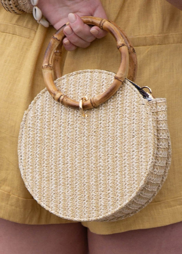 Bamboo Handled Wicker Mini Bag - AMĒNAH